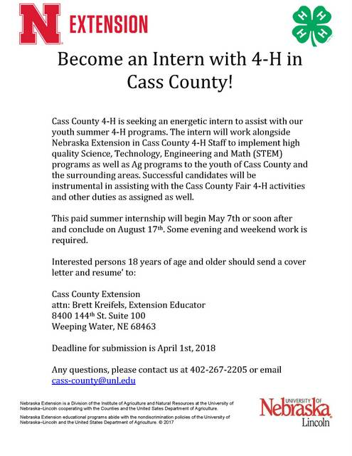 2018 Summer Intern call letter