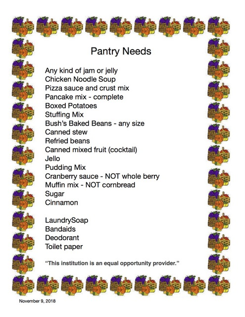 Pantry Needs Nov