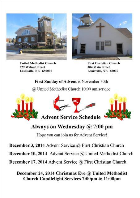 Advent Service schedule 2014